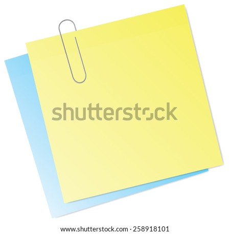 Sticky Notes with Paperclip Vector Isolated - stock vector