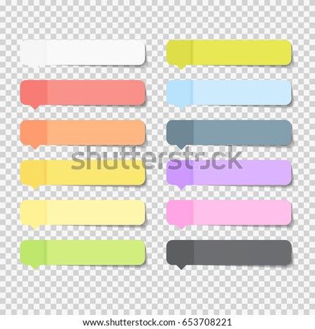 Sticky Office Paper Sheets Notes Pack Collection Set with Shadow Isolated on Transparent Background Vector Illustration EPS10