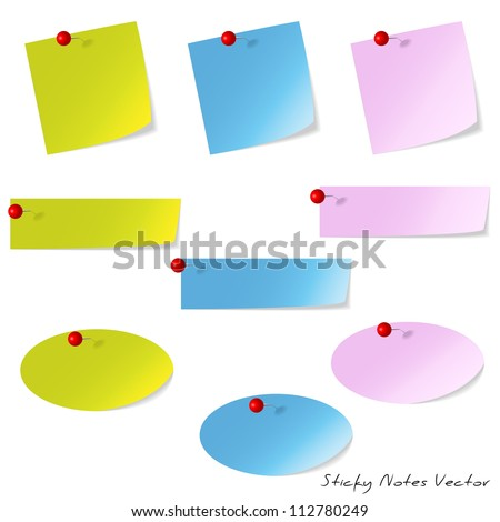 Sticky Paper Notes Reminder - stock vector