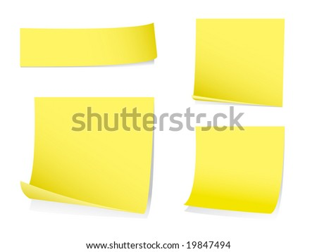 Sticky post it notes with shadows - stock vector