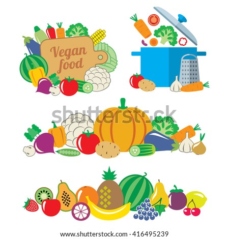 Still life and borders of vegetables and fruits illustration flat style