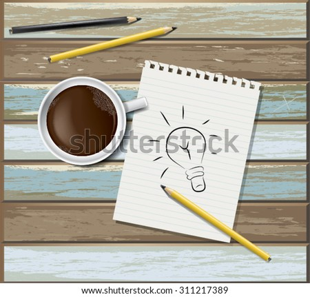 Still life, business, education concept. Office supplies, mug with coffee, notepad, staple and pencil on a wooden table. top view - stock vector