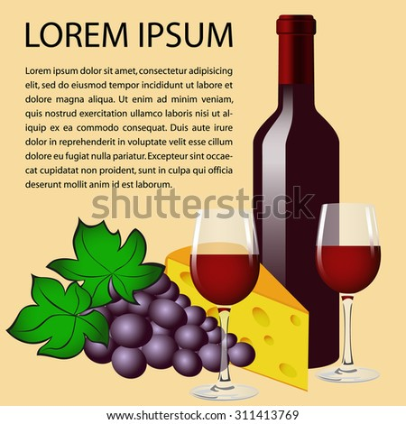 Still-life, composition. Bottle of red wine, two glasses, grape and cheese. Place for your text. Vector Image. - stock vector