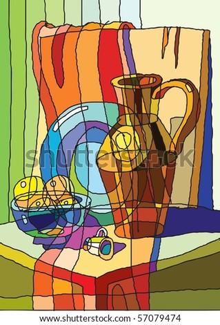 still life, dish, jug - stock vector