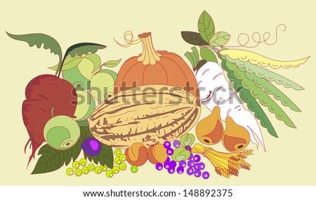 still life of autumn fruits and vegetables - stock vector