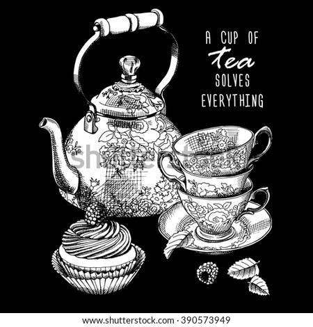 Still life. Teapot, cups and cake. Vector black and white illustration.