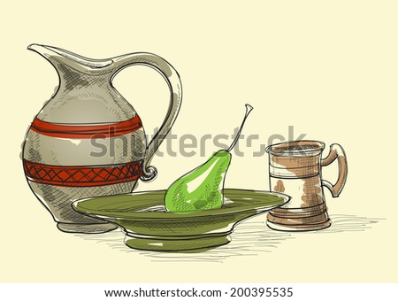 Still life vector, jug, plate and pear, cup. Kitchen items decoration - stock vector