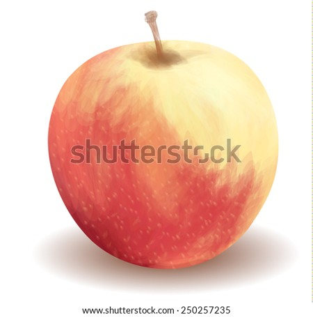 Still life with a ripe, juicy apple. - stock vector