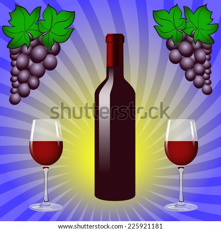Still life with bottle of red wine, two glasses and two bunches of grapes on a blue background.