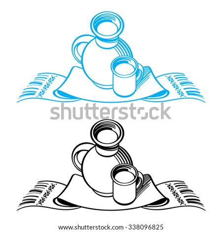 Still life with crock, cup and towel - stock vector