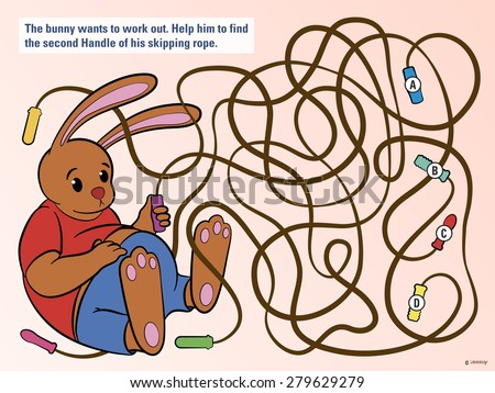 Stimulating educational kids puzzle to help the bunny untangle his skipping rope from three others so that he can do his daily exercise and workout, cute vector cartoon illustration - stock vector