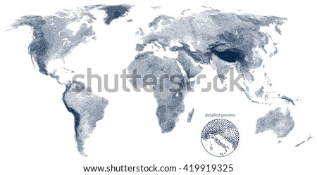 Stippled world relief vector map - stock vector