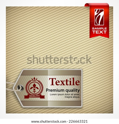 Stitch label with text on textile seamless pattern, vector illustration - stock vector