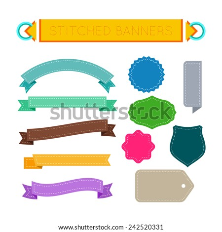 Stitched banners, ribbons, labels and tags colorful set. Vector design elements. - stock vector