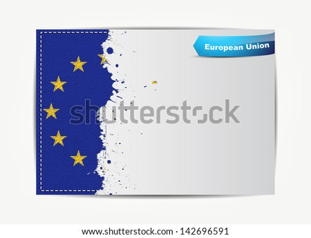 Stitched European Union flag with grunge paper frame for your text with the name of the country. (EPS10 Vector)