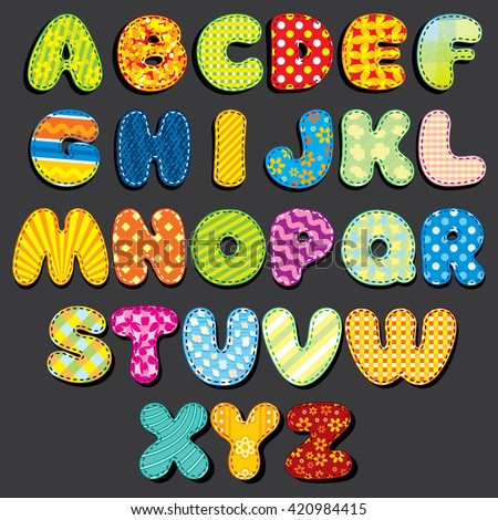 Stitched Fabric Alphabet. Fun Cartoon Letters Applique, Patches. Ready for Your Text and Design. - stock vector