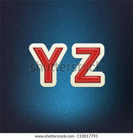 Stitched Fabric Font Y-Z - stock vector