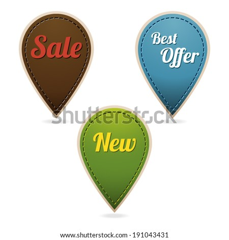 Stitched tags for retail � sale, best offer, new. - stock vector