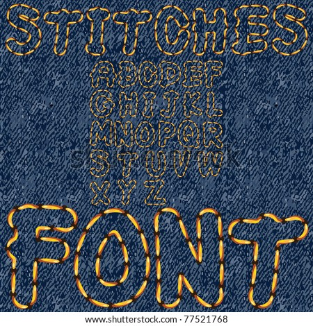 stitches font denim - stock vector