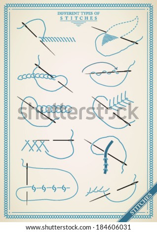 Stitches type vector. Collection of thread stitches. Vector illsutration of stitching examples. - stock vector