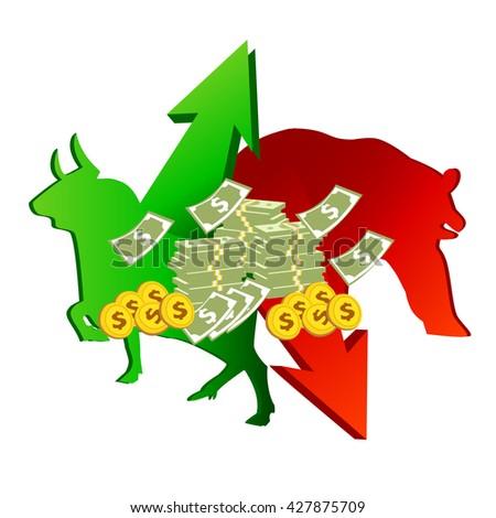 stock bull and bear icon logo with arrow and dollar bill design.vector illustration.  - stock vector