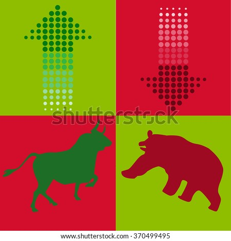 stock bull and bear icon logo with arrow design for investment market on red and green background  - stock vector