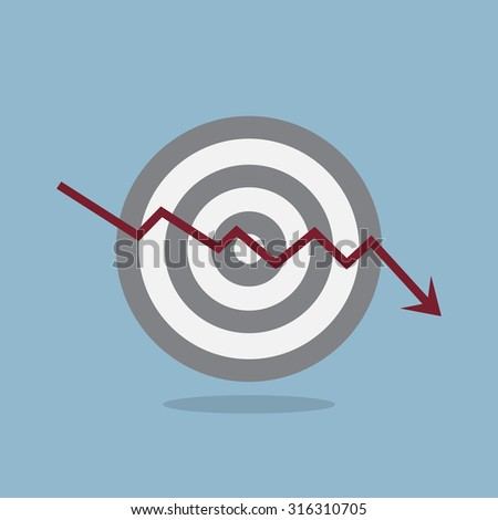 stock crisis arrow down with target vector illustration.