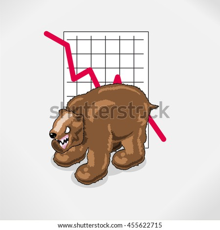 Stock exchange bear with falling graph. Isometric illustration - stock vector