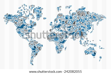 Stock exchange finance world map concept illustration. Ideas for book cover, brochure and web presentation. EPS10 vector file. - stock vector
