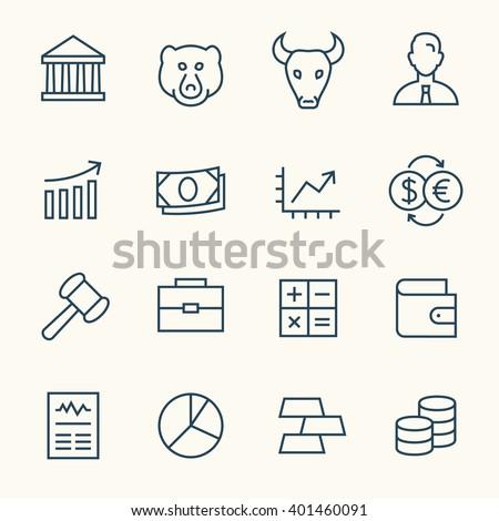 Stock exchange line icons - stock vector