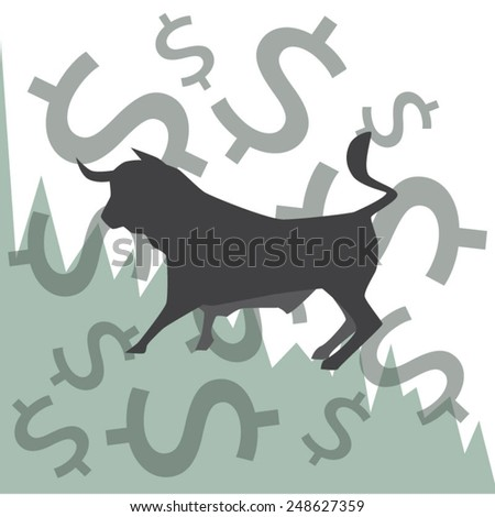 Stock exchange market, foreign exchange financial markets abstract concept with bull and graph, vector format. - stock vector