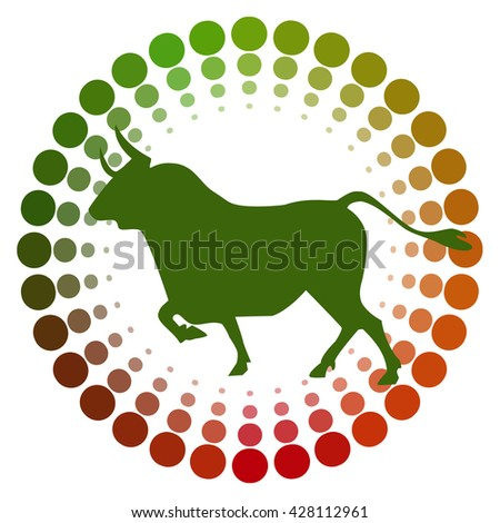 stock green bull icon logo with cycle color green to red design for investment market.vector illustration. - stock vector