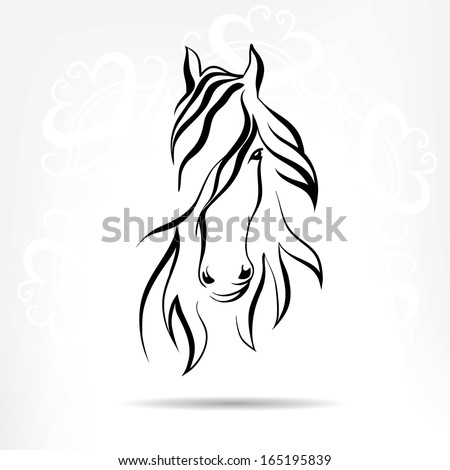 Stock horse head on a snowy background - stock vector