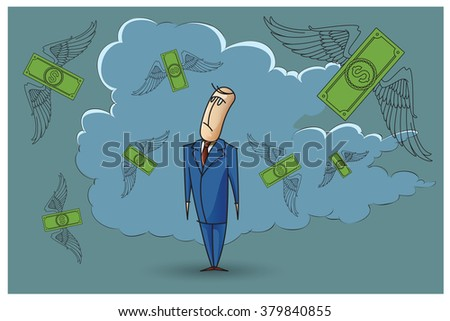 Stock Illustration. Bob. Funny characters drawn in the style of flat lines. Bankruptcy and debt. - stock vector