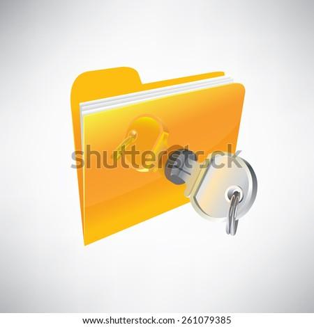 Stock illustration. Icon folder locked with a key - stock vector