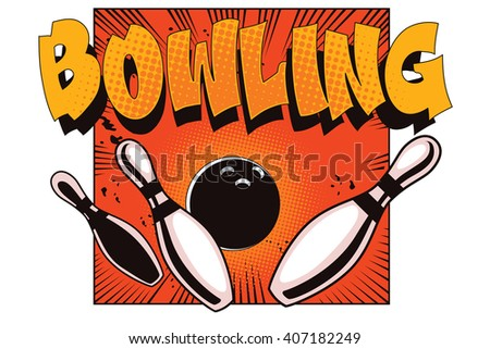 Stock illustration. Object in retro style pop art and vintage advertising. Bowling ball crashing into the pins