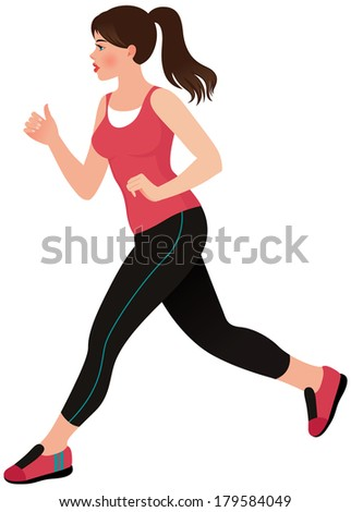 Stock illustration of a pretty young woman doing jogging/Running girl athlete/Illustration of a beautiful young woman athlete - stock vector