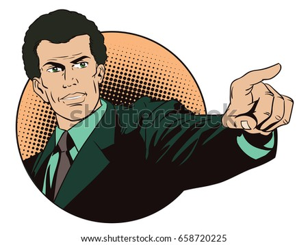 Stock illustration. People in retro style pop art and vintage advertising. Casual businessman pointing.