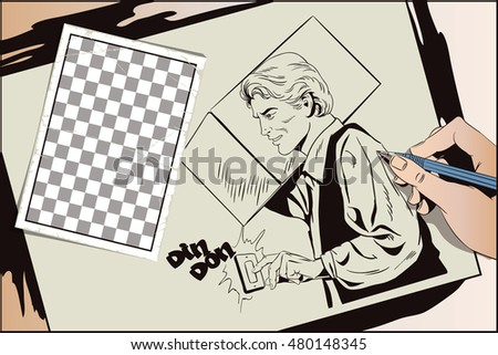 Stock illustration. People in retro style pop art and vintage advertising. Delivery man with a parcel. Hand paints picture.