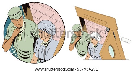 People in retro style pop art and vintage advertising. Doctor and nurse  sc 1 st  Shutterstock & Stock Illustration People Retro Style Pop Stock Vector 657934291 ...