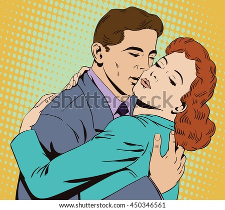 Stock illustration. People in retro style pop art and vintage advertising. Embraces of a loving couple - stock vector