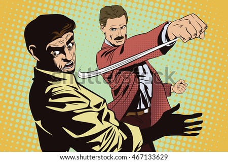 Stock illustration. People in retro style pop art and vintage advertising. Fight of two men.