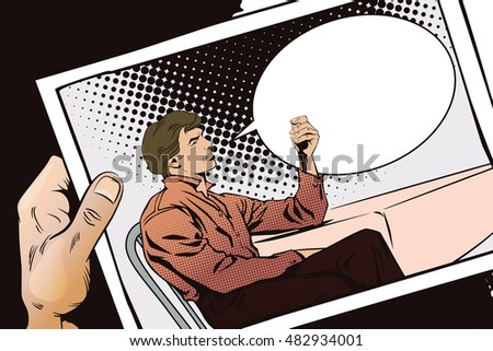Stock illustration. People in retro style pop art and vintage advertising. Hand with photo. Man is sitting for table.