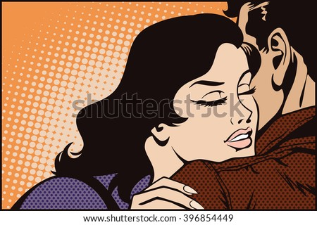 Stock illustration. People in retro style pop art and vintage advertising. Kissing couple. - stock vector