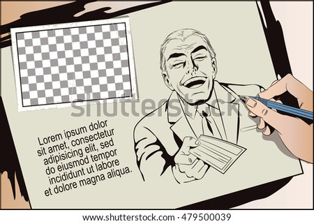 Stock illustration. People in retro style pop art and vintage advertising. Laughing man with bank check. Hand paints picture.