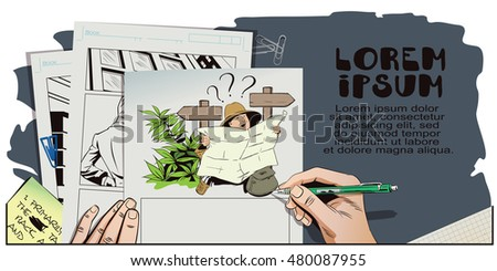 Stock illustration. People in retro style pop art and vintage advertising. Traveler man searching right direction on map. Hand paints picture.