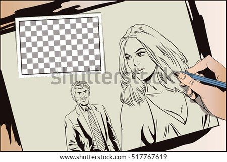 Stock illustration. People in retro style. Presentation template. Girl looks back at man. Hand paints picture.