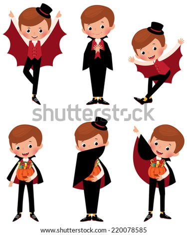 Stock illustration set of different poses of a boy in costume a vampire for Halloween/Set of Halloween vampire in various poses/Illustration set poses cartoon vampire - stock vector