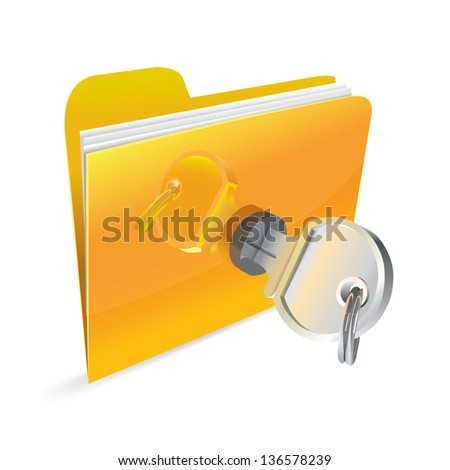 Stock illyustratsiya.Bezopasnost information. Icon folder locked with a key - stock vector