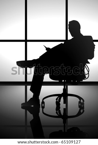 Stock image of a man silhouette  sitting on a chair reading - stock vector